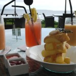 enjoying a snack and some drinks on Seminyak beach