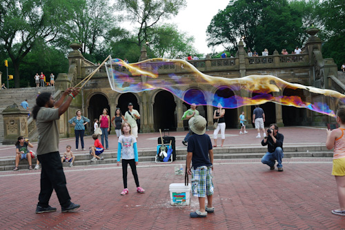 Adults and children were amazed at the bubbles in Central Park