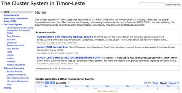 Website for The Cluster System in Timor-Leste