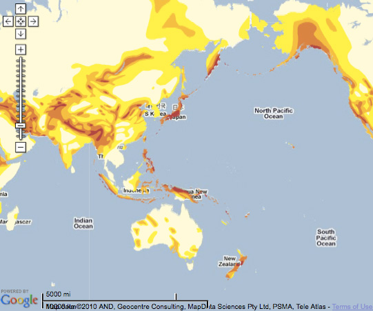 Google Map of Natural Hazard Risk