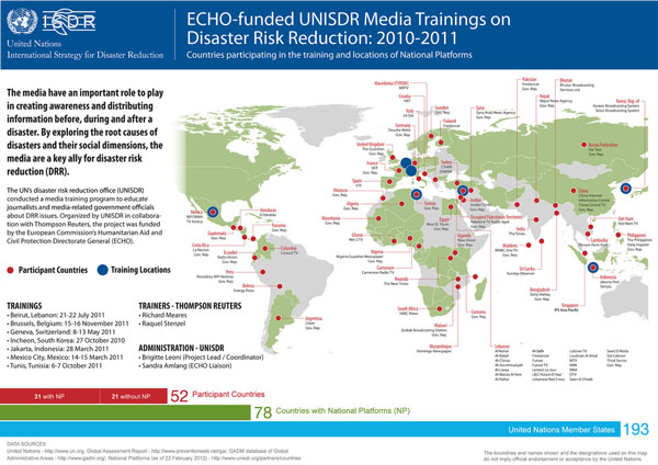 ECHO-funded UNISDR Media Trainings on Disaster Risk Reduction: 2010-2011