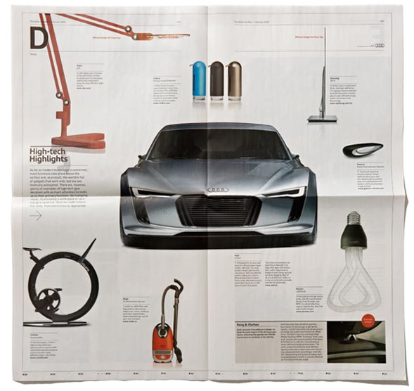 Pairing up with ad agency Lowe Roche, Underline Studio designed a custom insert for Audi in the first issue of The Globe and Mail�s much-anticipated redesign. The publication focused on superior approaches to design, in everything from architecture and fashion to housewares and, of course, Audi�s line of luxury vehicles.