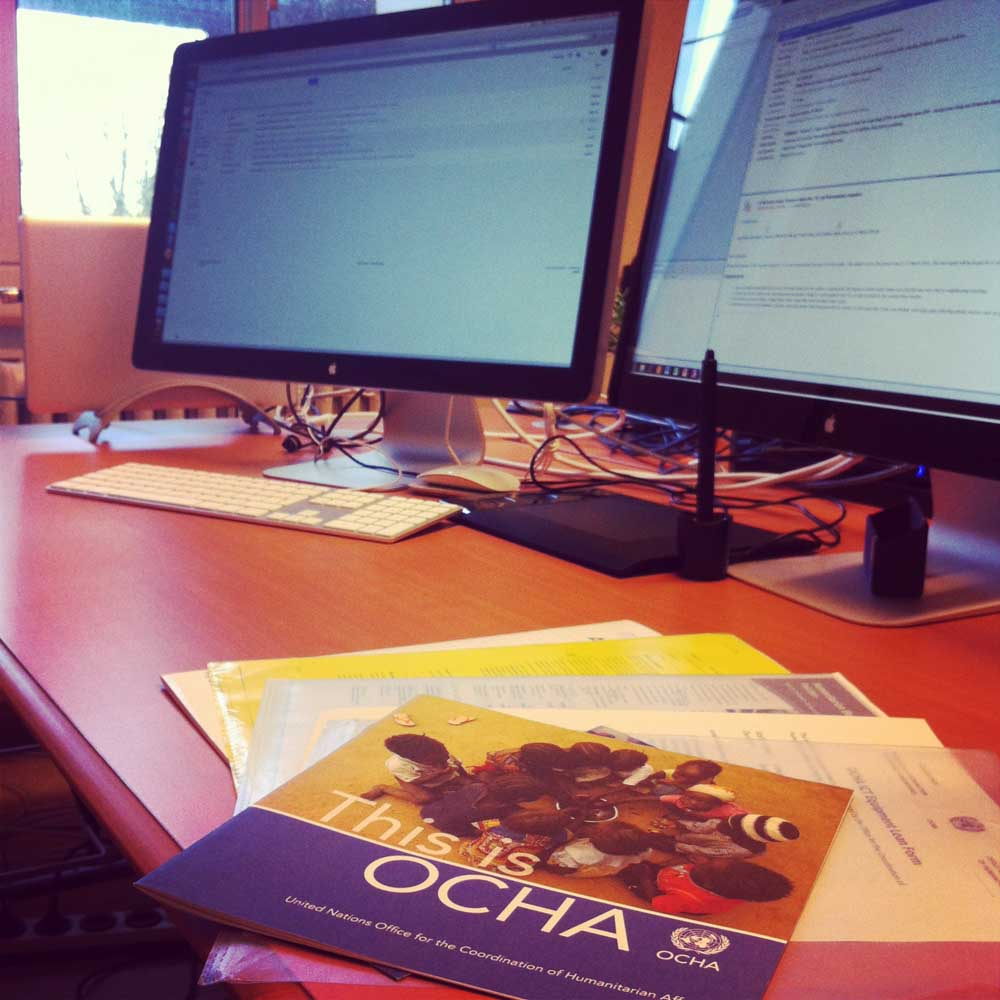 My new job with OCHA is mainly about designing and visual communication - how cool is that!