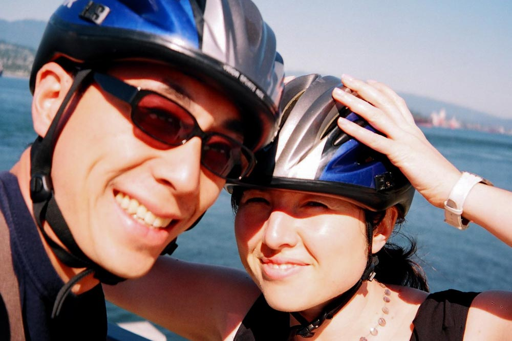 Taking a bike trip around Vancouver's Stanley Park before getting married.