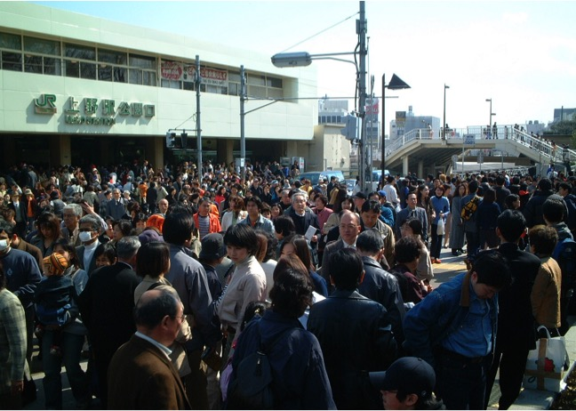 Where's Waldo... um... where's Vincent in this photo taken at Ueno station during the cherry blossom season in Tokyo.