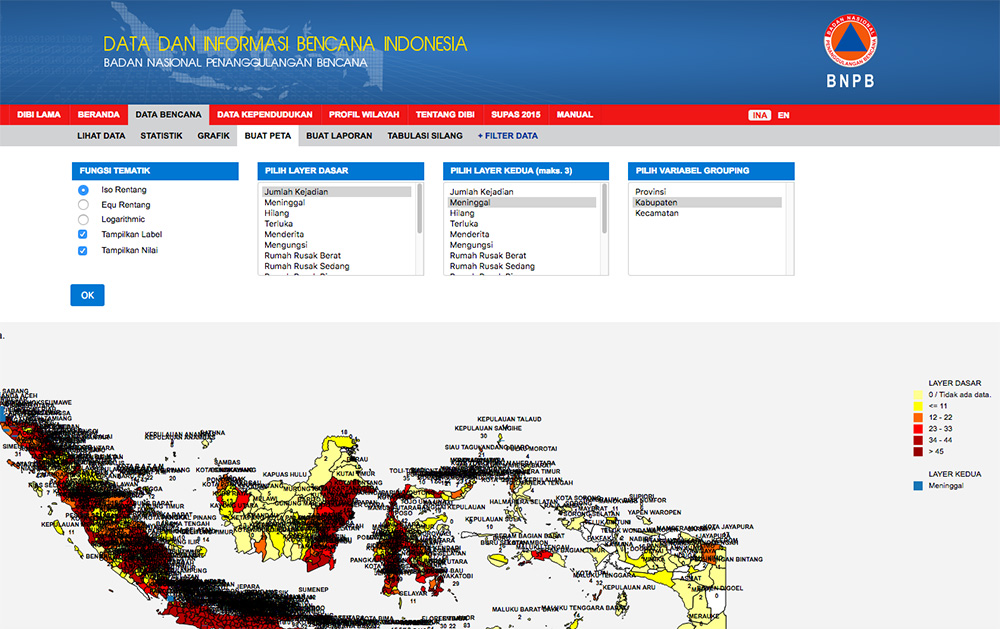 The mapping feature from BNPB disaster data portal - http://dibi.bnpb.go.id/data-bencana
